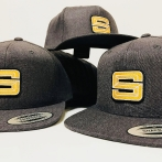 Gray snap back caps with 3D patch embroidery. Embroidered with High Quality Polyester Thread.