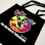 Cotton bags with The Northern Takedown print. Colorful print on black cotton bags. Bags with your own logo
