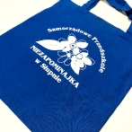 Cotton bags with print. Blue bags with your text or graphic.