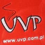 Embroidered logo of United Vending System. Hoodies with company logo.