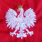 Embroidered polish emblem on shirt. Formal shirts with custom logo.