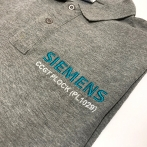 Polo shirts with SIEMENS embroidery. Clothing with embroidery, logo on the front. Embroidered company logo. computer embroidery. Polo shirt with Logo EMBROIDERY.