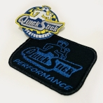 Computer patches, embroidered with the QUICK STICK PERFORMANCE company logo. Colorful patches, embroidery on T-shirts and sweatshirts for a company dealing in the construction and modification of engines
