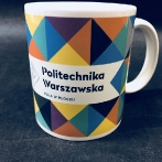 Colorful cups. A full graphics around the mug. Porcelain mugs with a print of Warsaw University of technology in Płock.