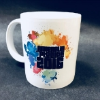 Colorful cups for everyone. Porcelain mug with colorful graphics for