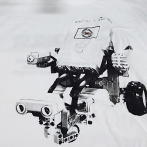 Custom t-shirt with print - company logo printed on white JHK t-shirt
