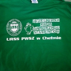 Green t-shirt with white print. T-shirts for students with their own logo. Custom t-shirt with company logo. T-shirts for University students.