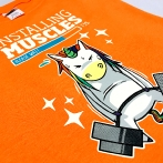 T-shirt with colorful print. Multicolor T-shirt made in CMYK technology - screen printing. Colorful t-shirts from Poland